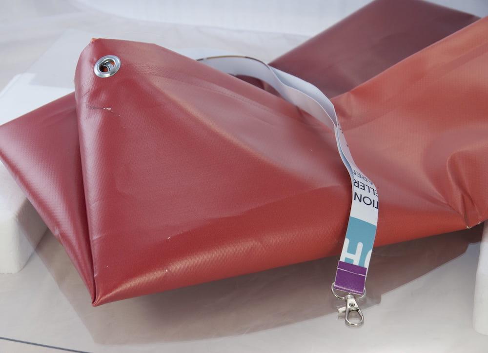 czerwony materiał pcv na plandeke